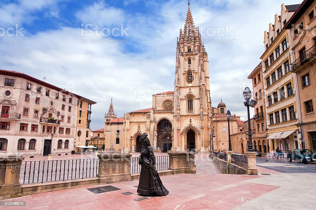 Oviedo Cathedral on Plaza Alfonso II el Casto in Asturias stock photo