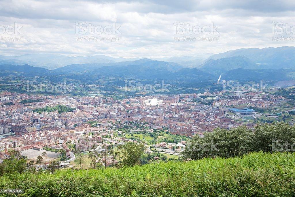 Oviedo city from Naranco stock photo