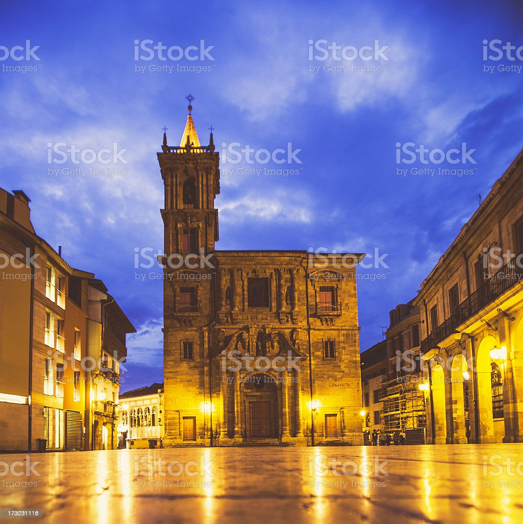 Oviedo old town by night. stock photo