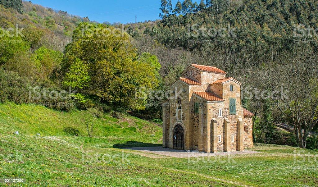 Oviedo,San Miguel de Lillo,old church stock photo