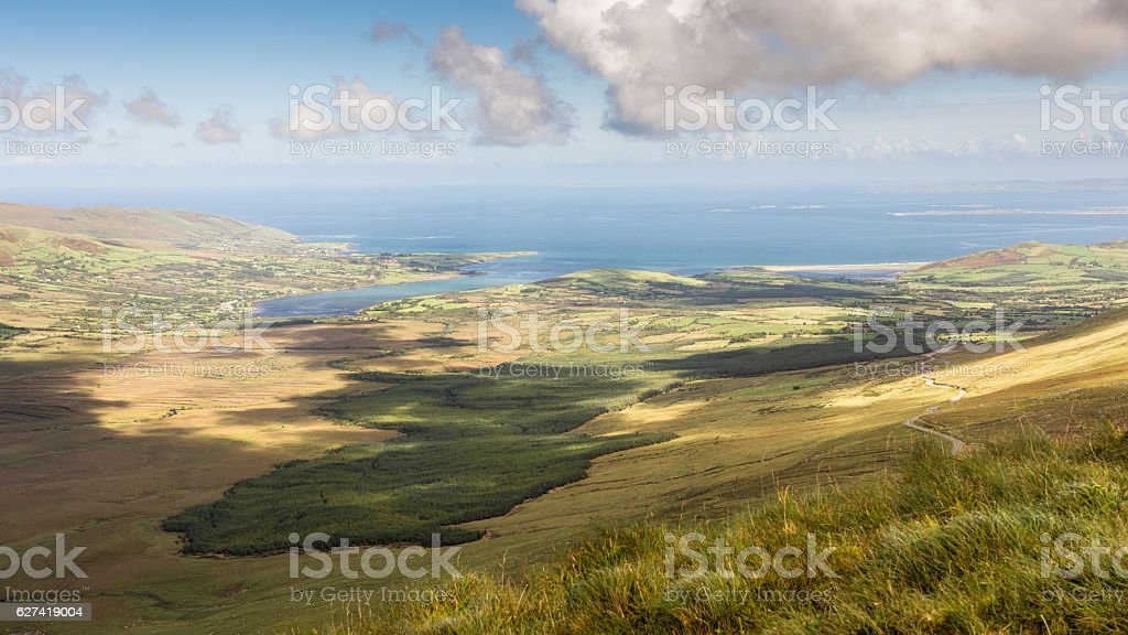 Owenmore Valley and Cloghane Estuary from Conor Pass stock photo