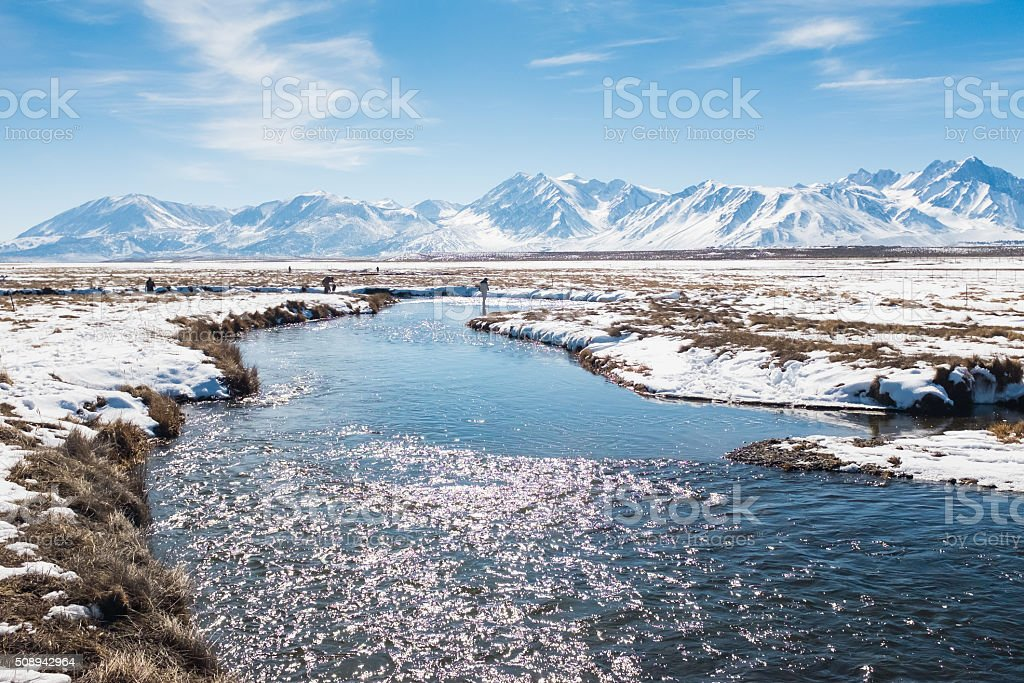 Owens River Covered In Snow During Winter stock photo