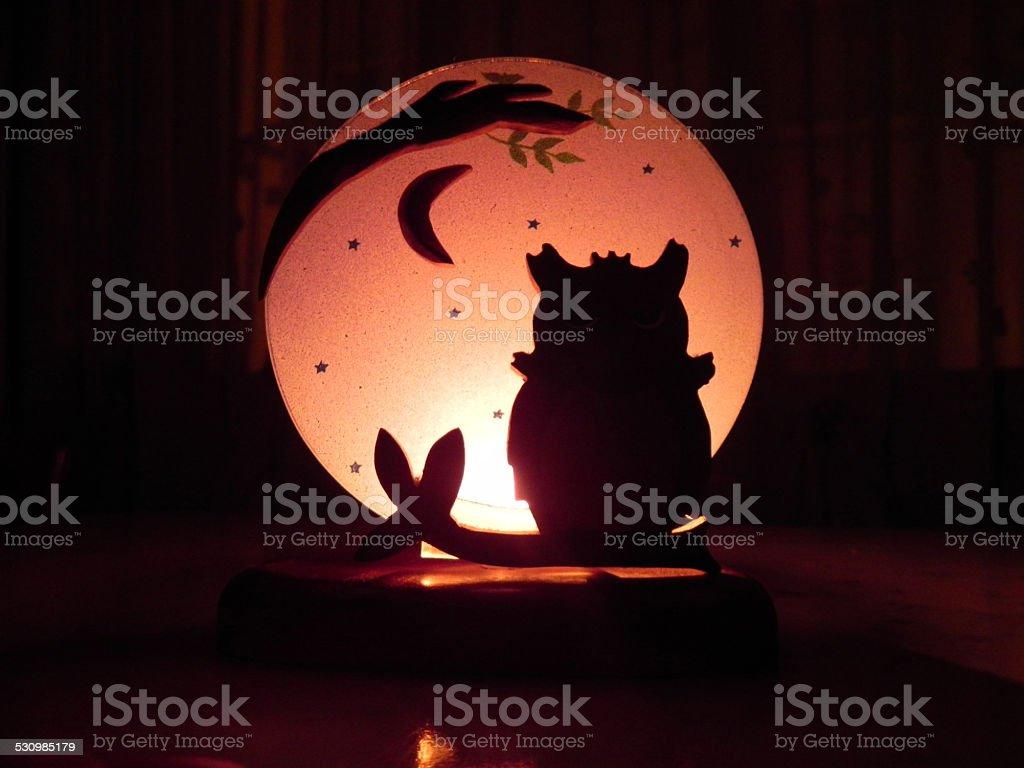 Owl Candle stock photo