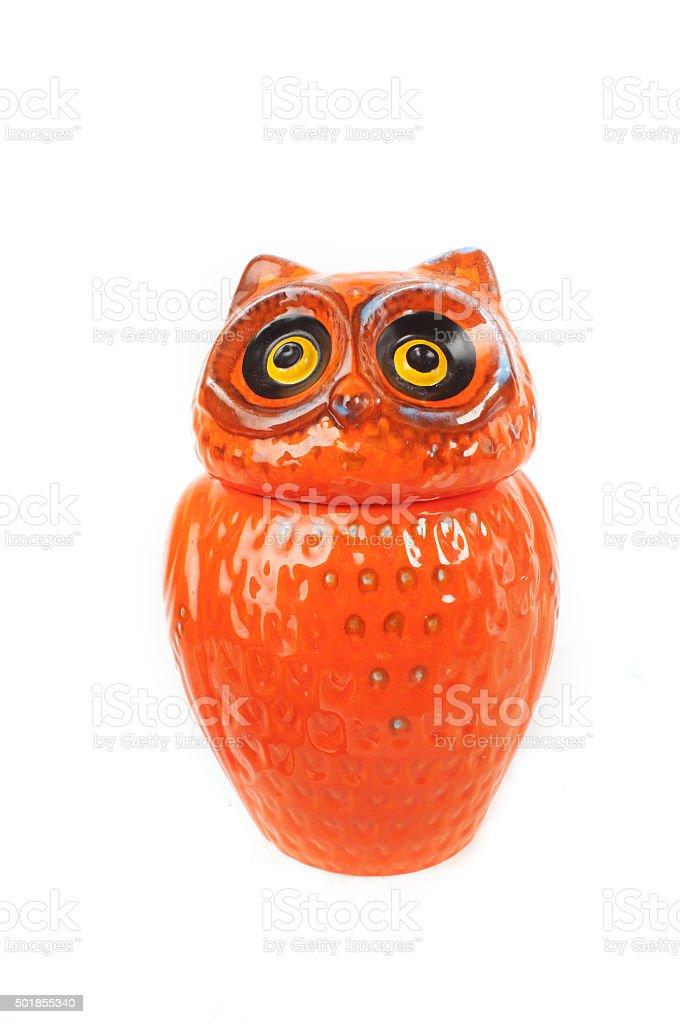 Owl cookie jar stock photo