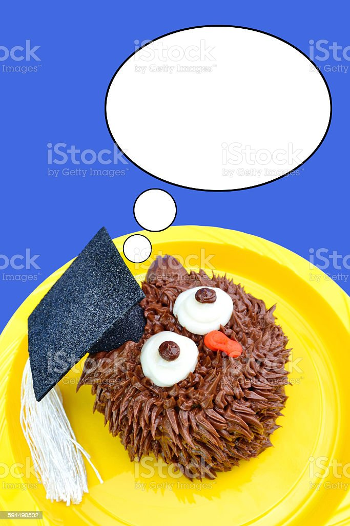 Owl Cupcake Looks Up stock photo