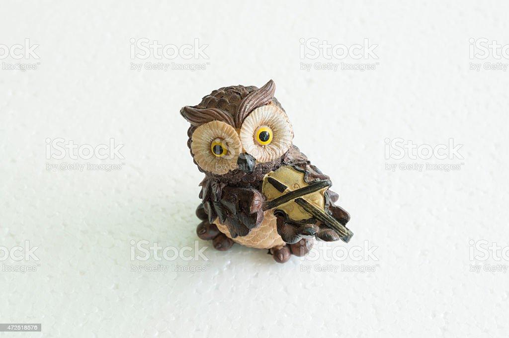 owl doll ceramic background white isolated concept stock photo