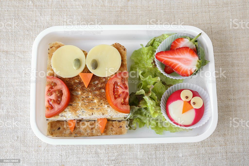 Owl healthy sandwich, fun lunch box for kids stock photo