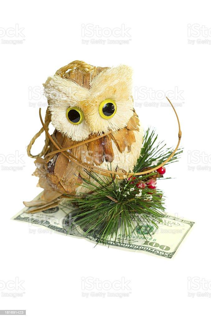 owl holding money royalty-free stock photo