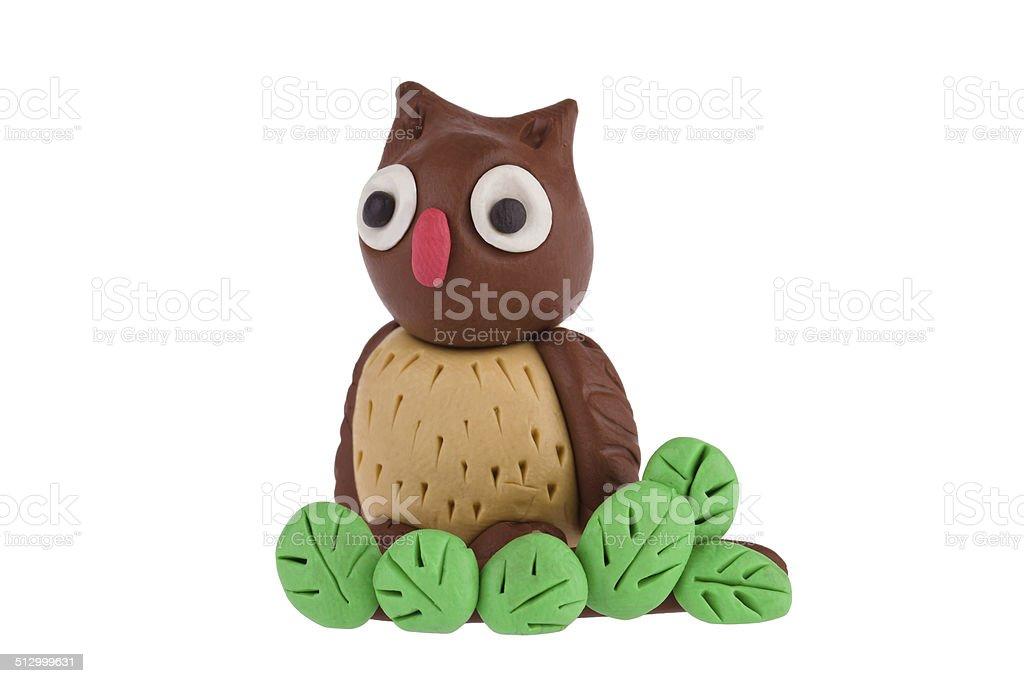 Owl made of plasticine stock photo