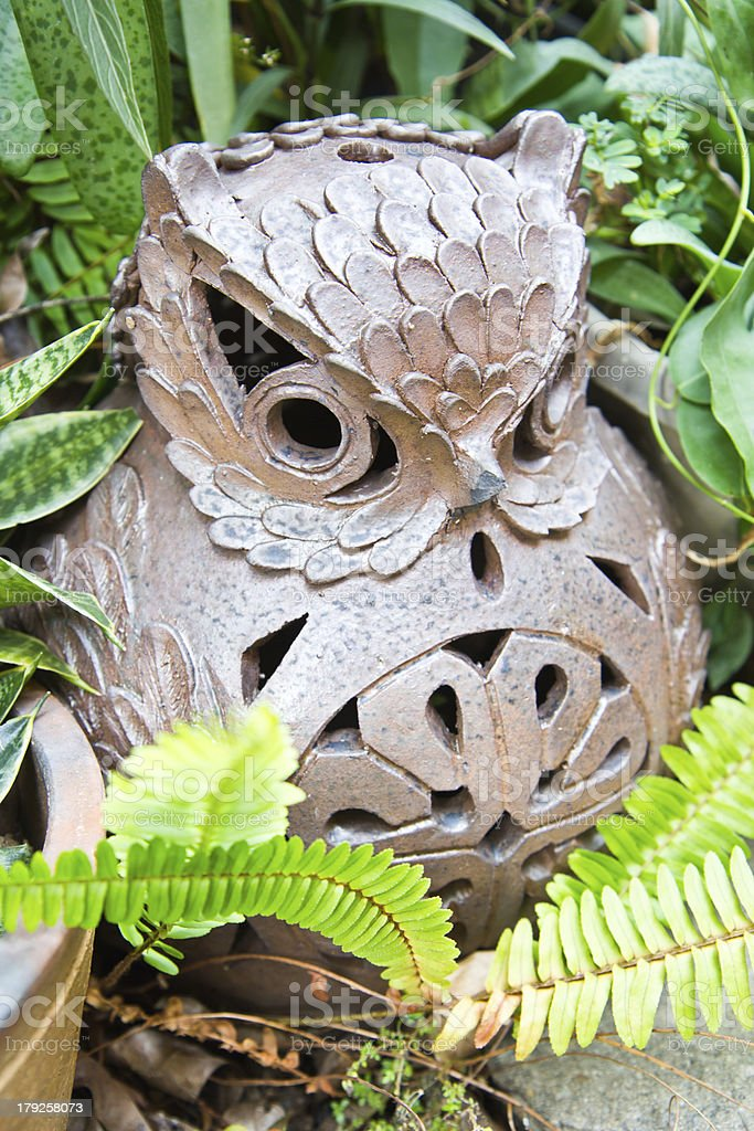 owl pot  in the green plants stock photo