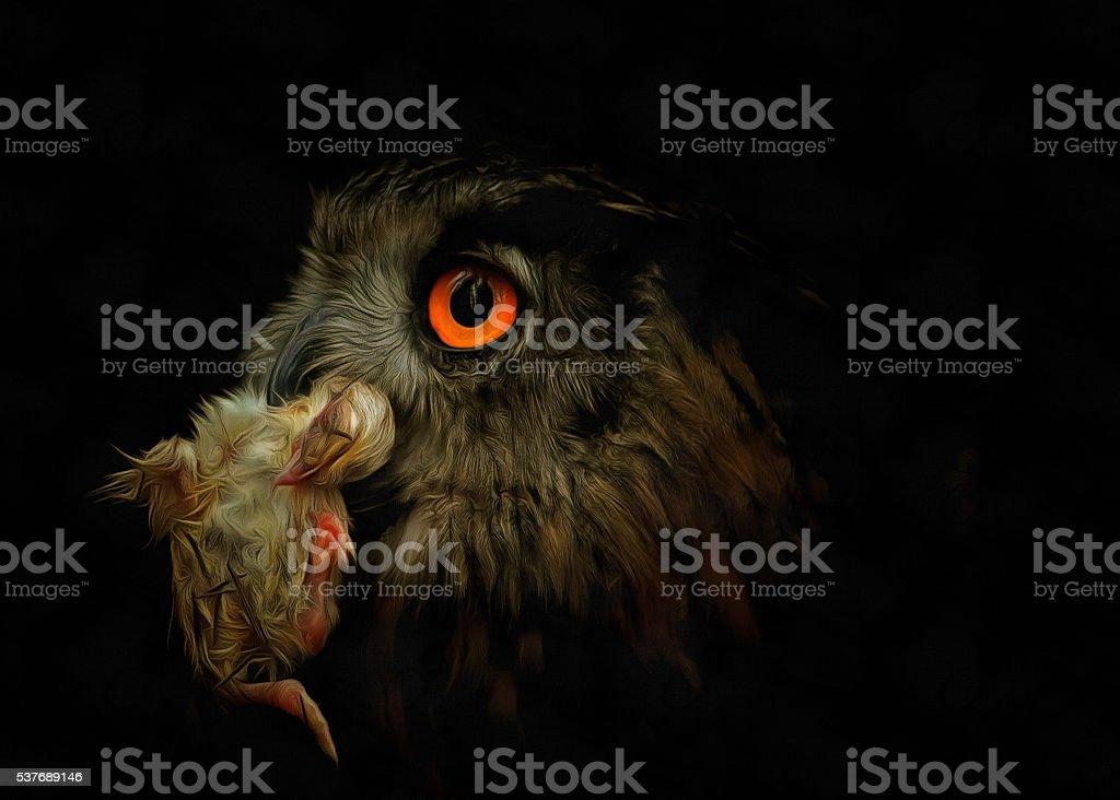 Owl with prey stock photo