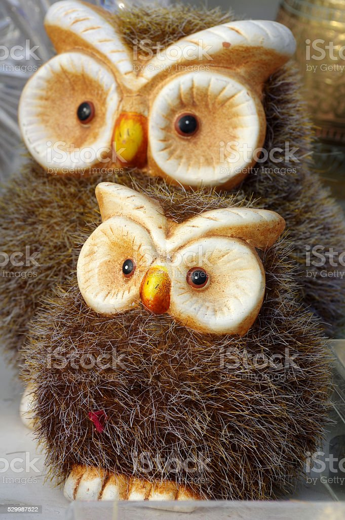Owls art figurines couple stock photo