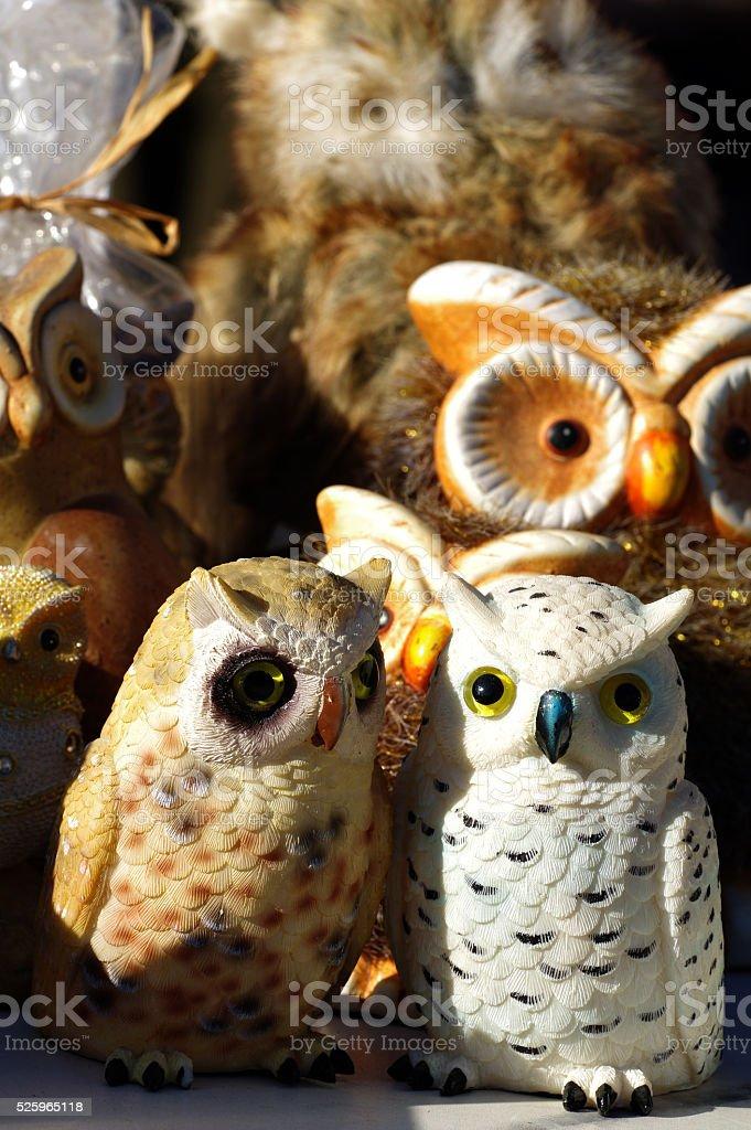 owls art figurines stock photo