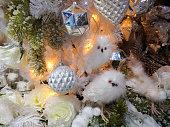 Owls decorations on christmas tree