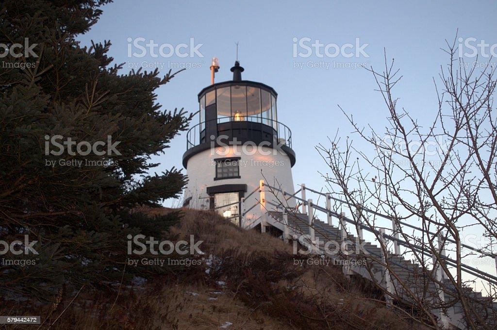Owl's Head Lighthouse, Rockland ME USA stock photo