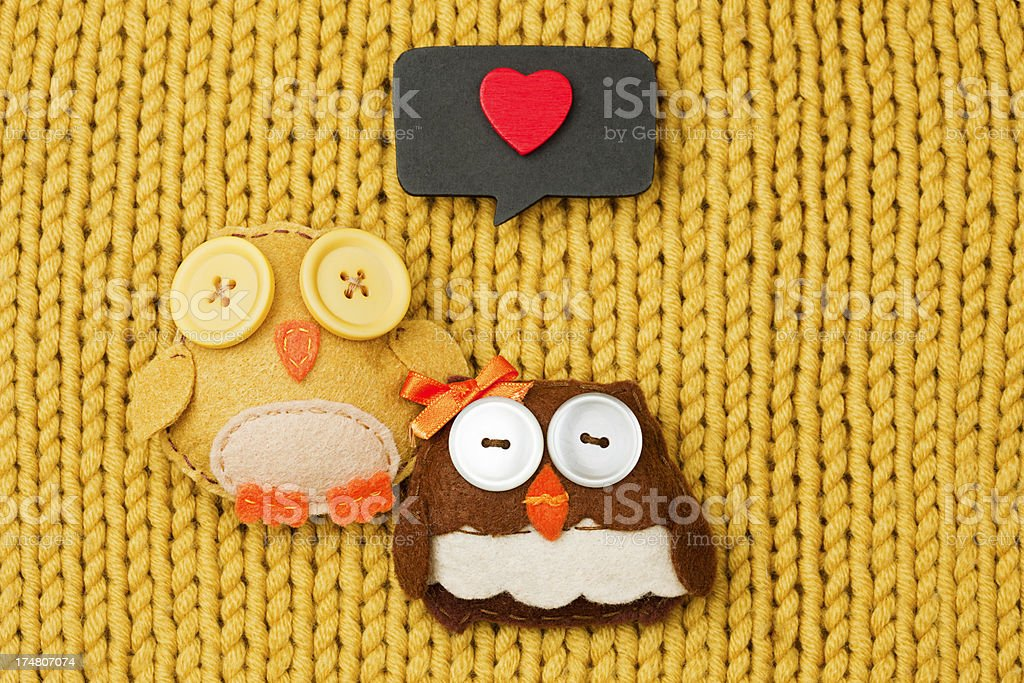 Owls in love royalty-free stock photo