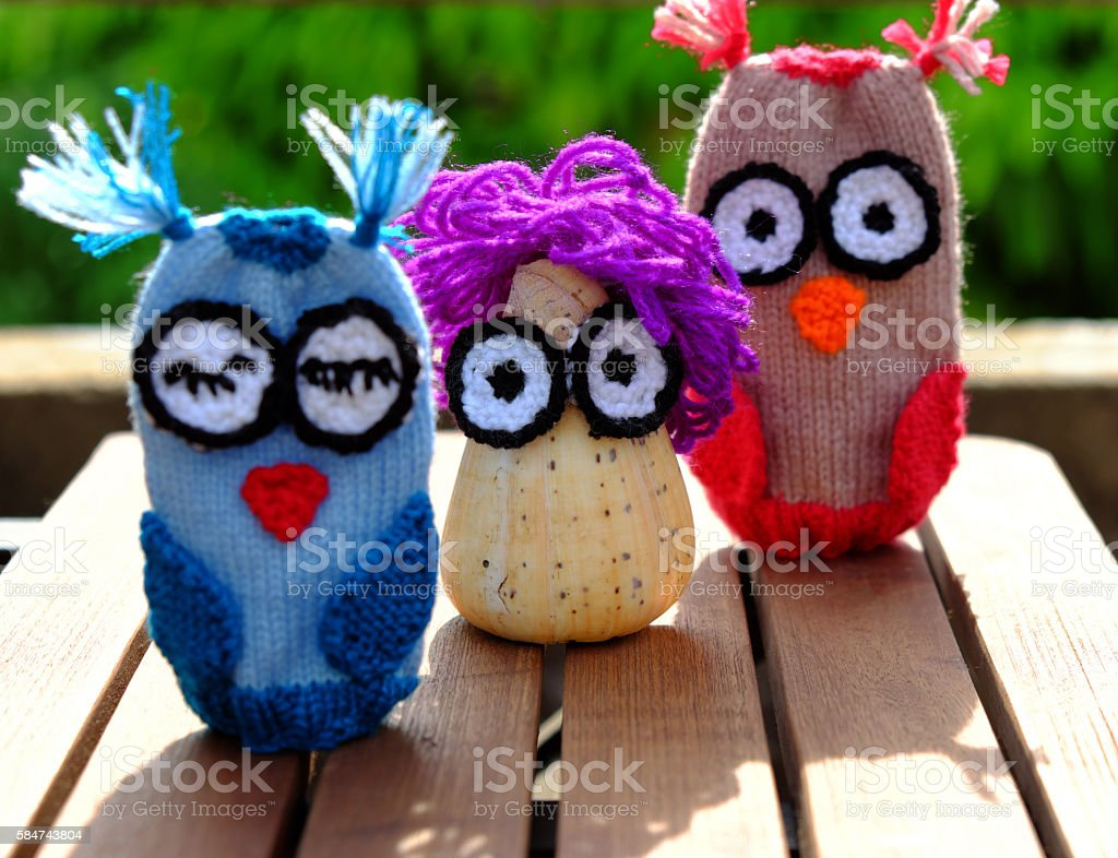 owls puppet, diy owl conch shell stock photo