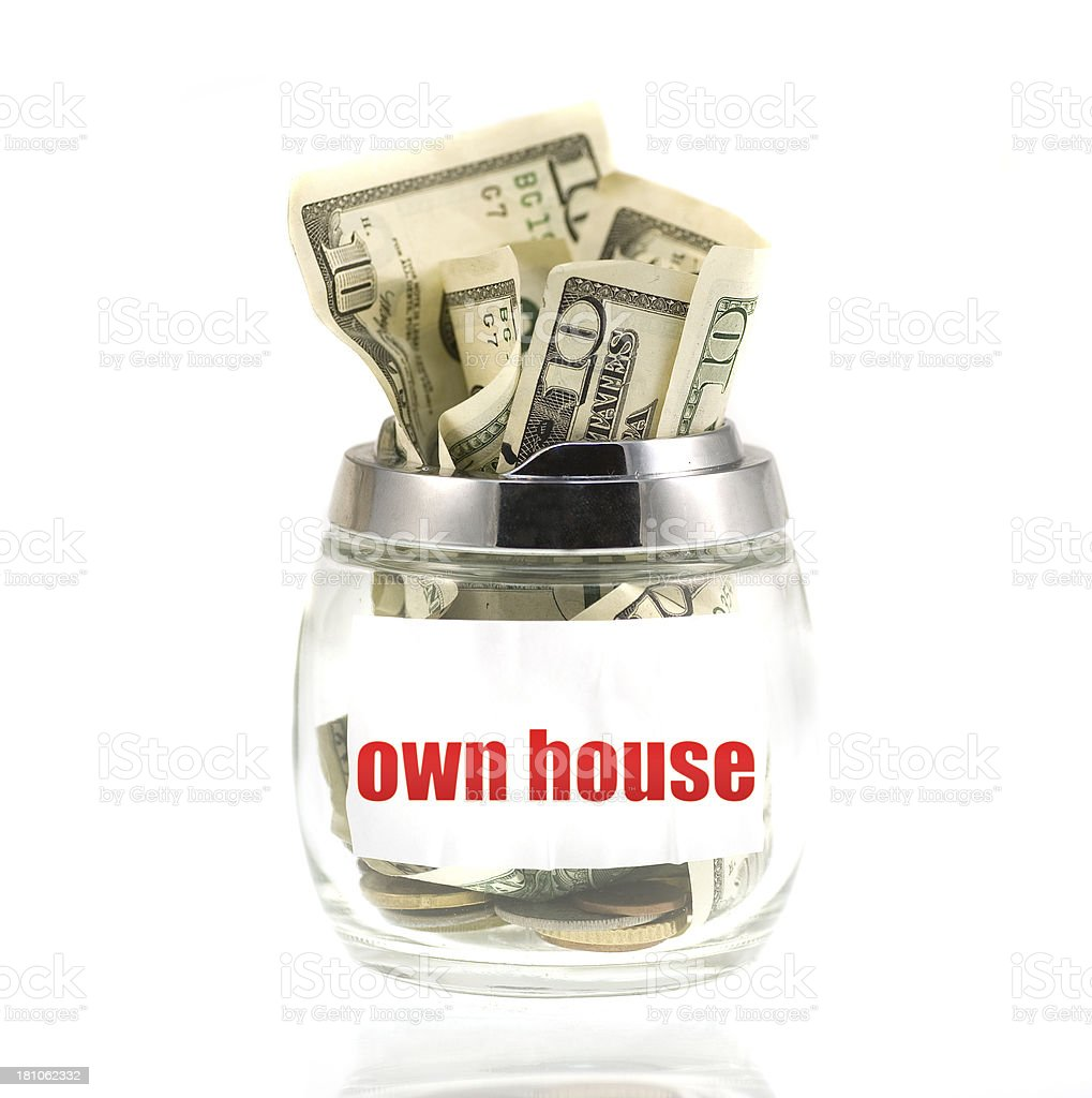 own house Dollar Savings in glass royalty-free stock photo