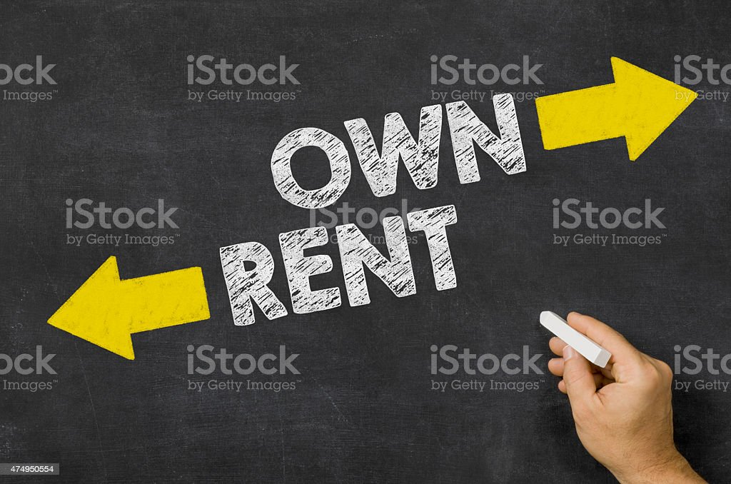 Own or Rent written on a blackboard stock photo