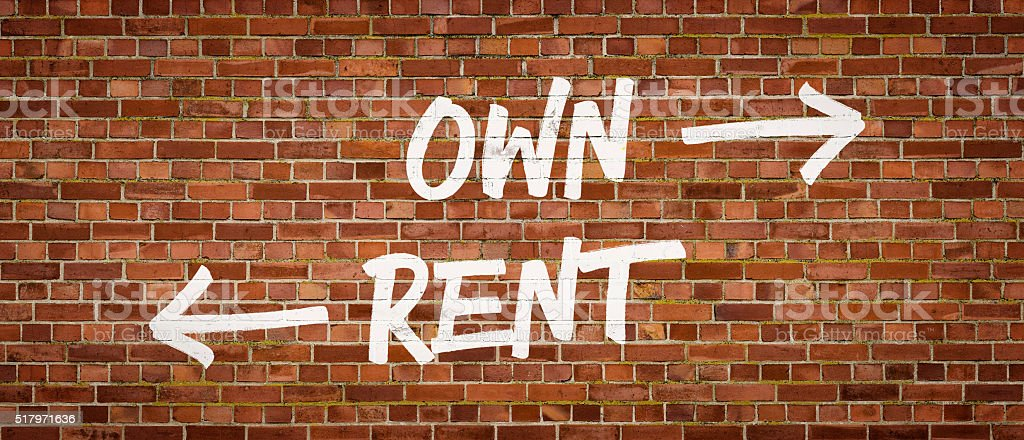 Own or Rent written on a brick wall stock photo