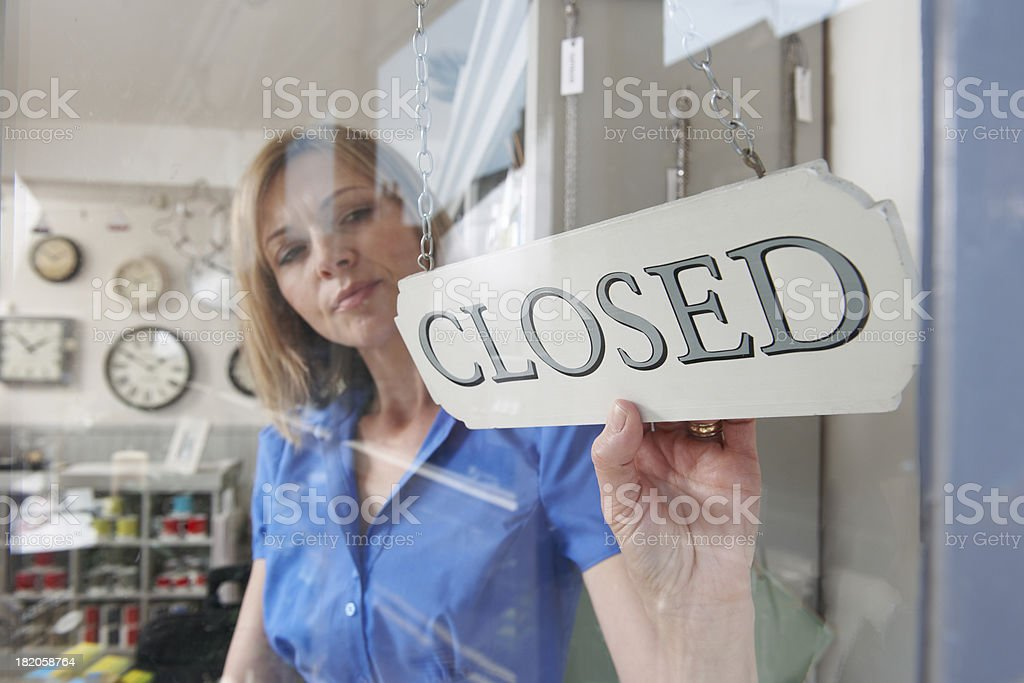 Owner Closing Shop stock photo