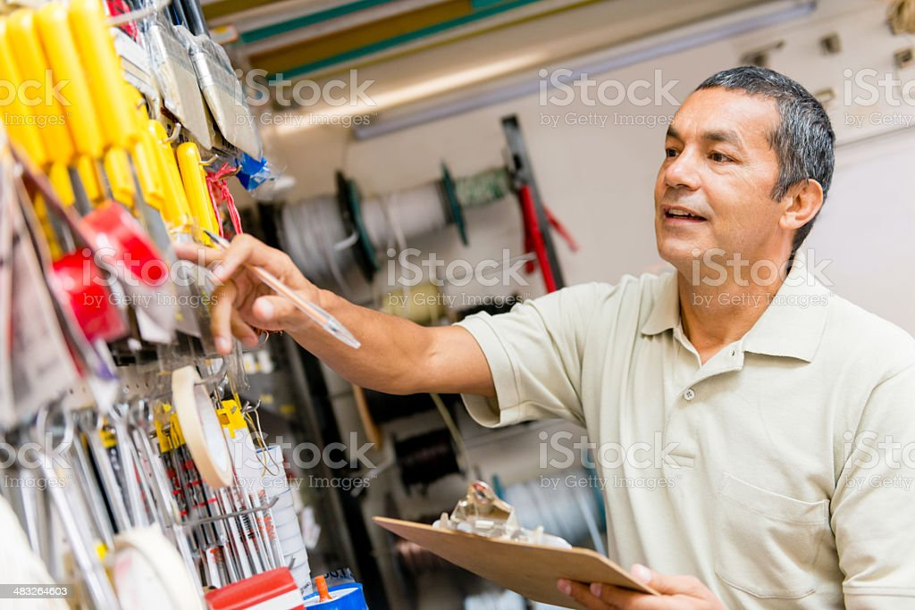 Owner doing inventory stock photo