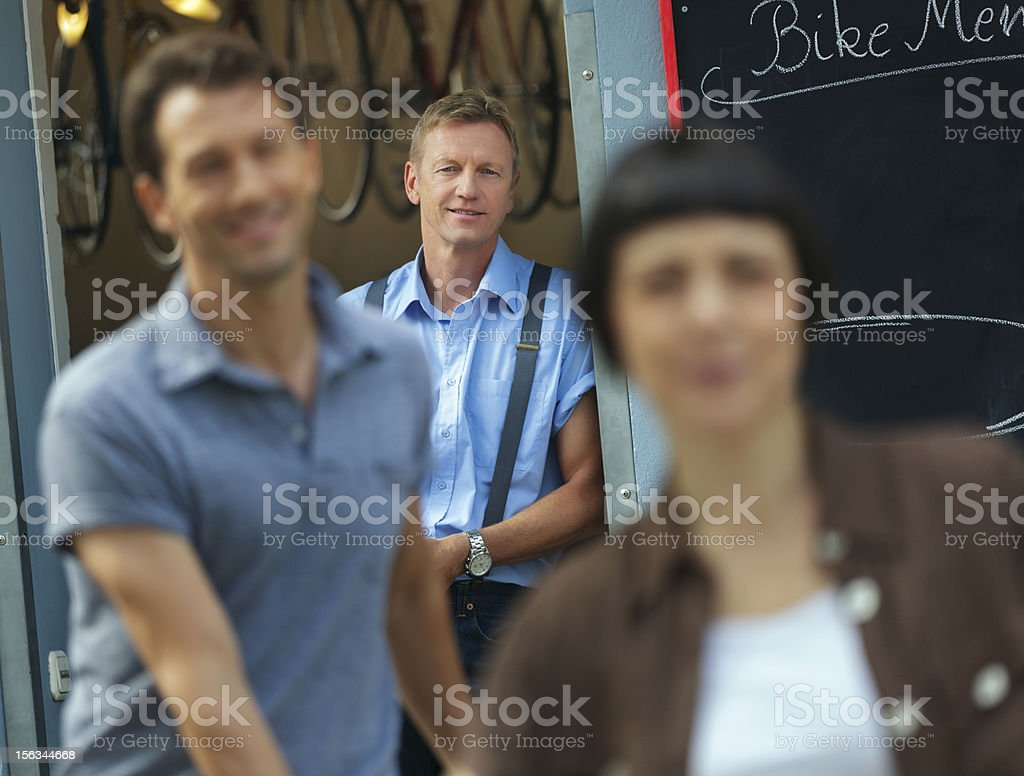 Owner of an Antique Bicycle Store royalty-free stock photo