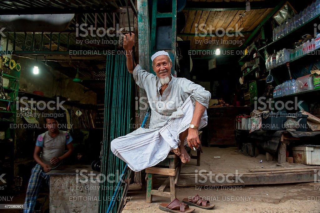 Owner of shop, Rangamati, Bangladesh stock photo