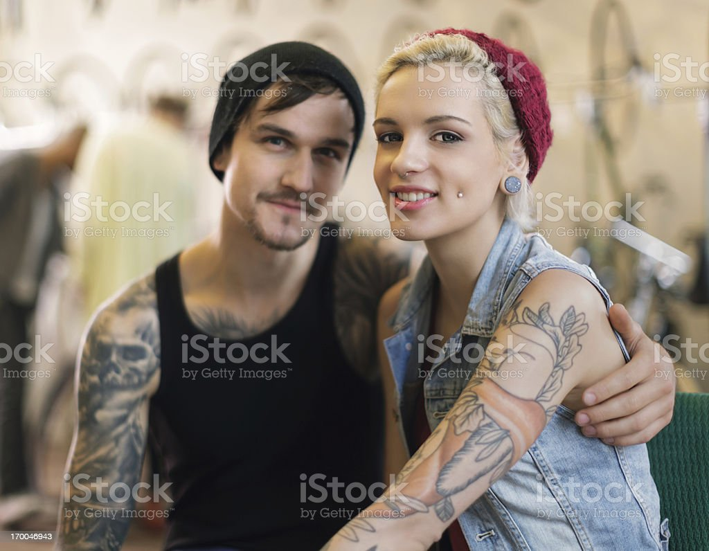 Owners of an Antique Bicycle Store royalty-free stock photo