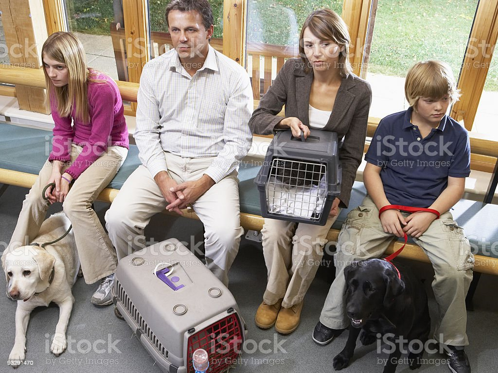 Owners Sitting In Vets Reception Area stock photo