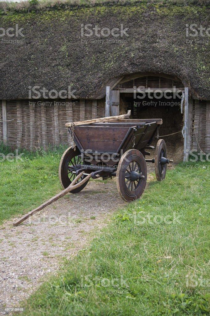 Ox Cart Near a Viking Barn stock photo