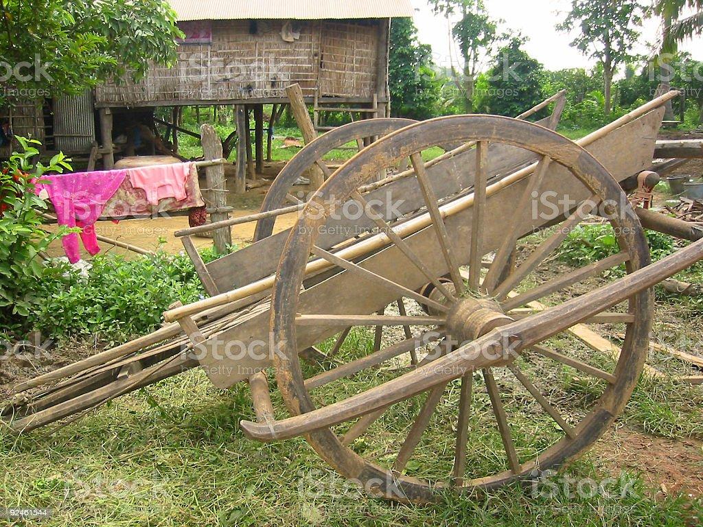 ox cart rural village cambodia royalty-free stock photo