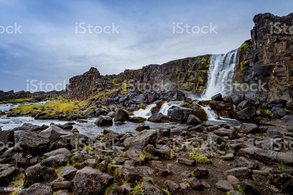 Oxarafoss inThingvellir National Park in Iceland stock photo
