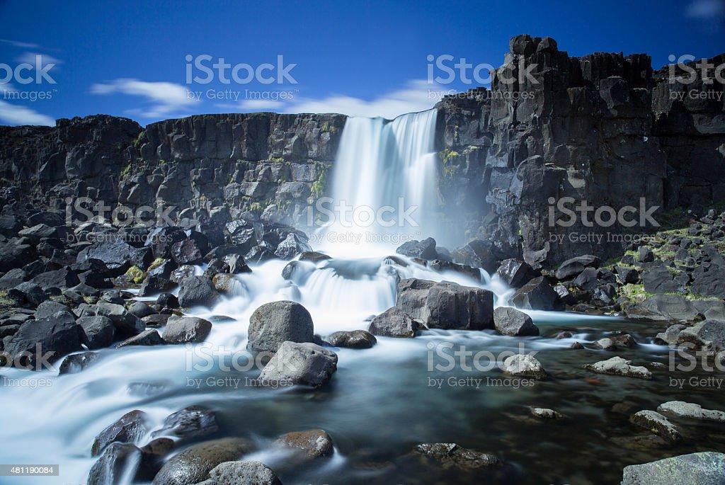 Oxarafoss waterfall stock photo