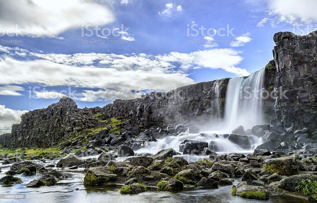Oxararfoss in Iceland stock photo