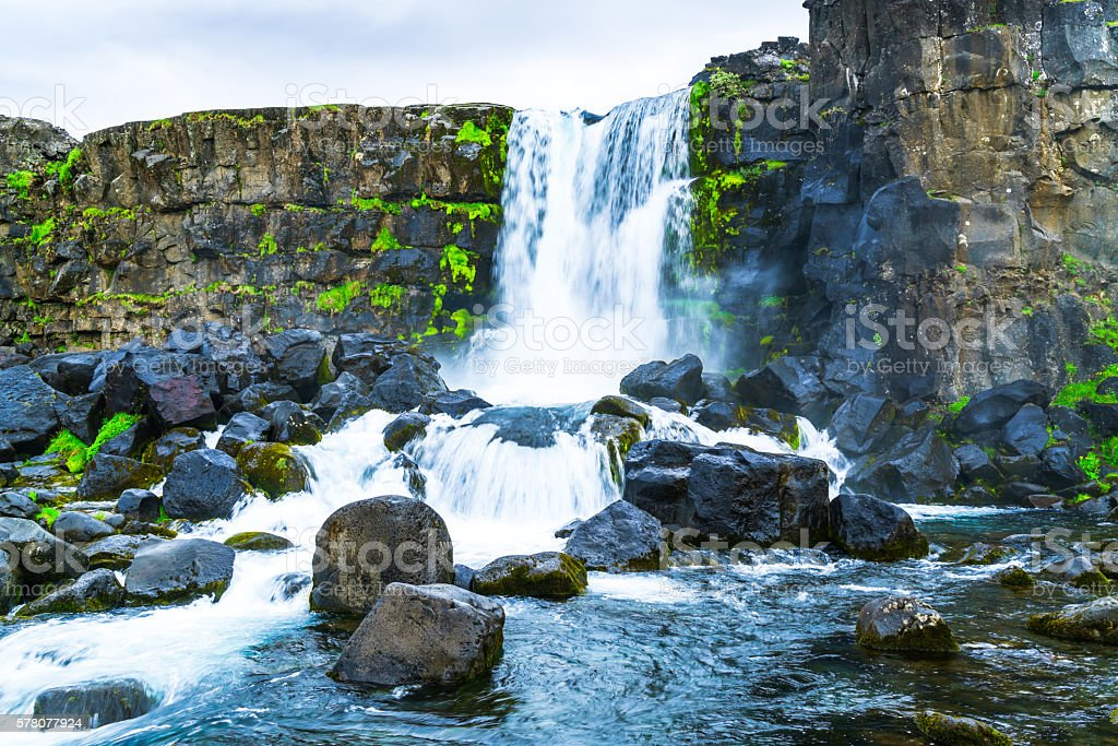 Oxararfoss waterfall at Thingvellir National park stock photo