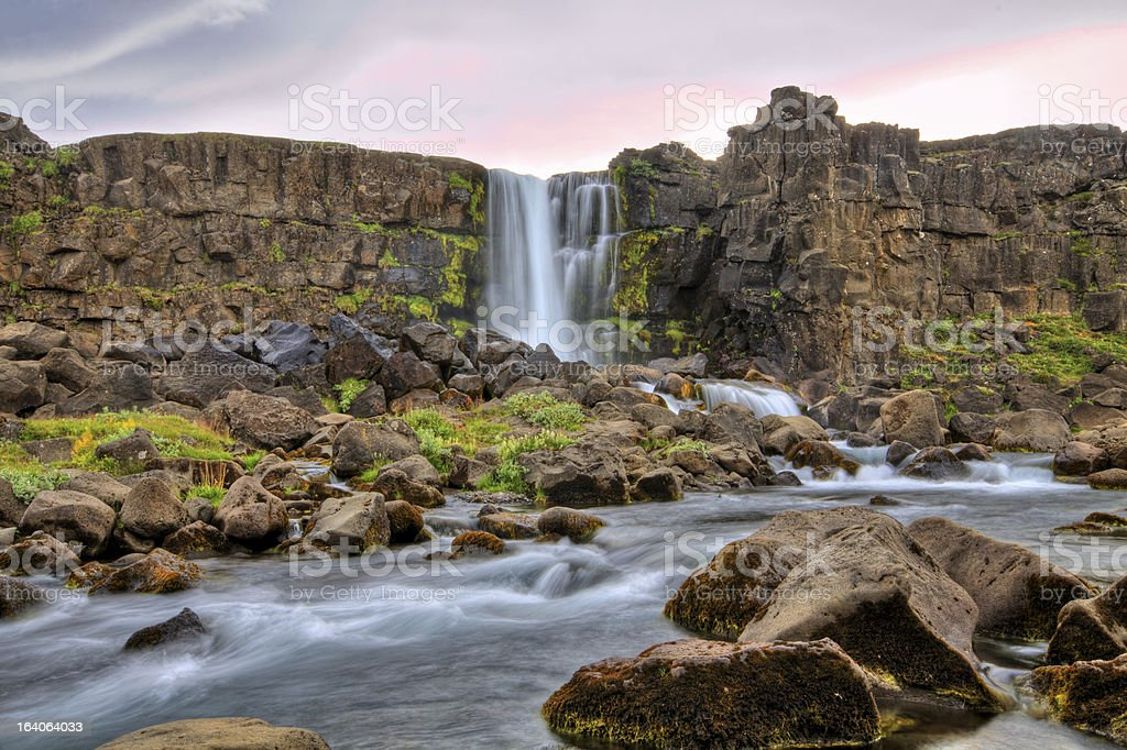 Oxararfoss waterfall in HDR, Iceland stock photo