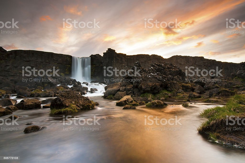 Oxararfoss waterfall stock photo