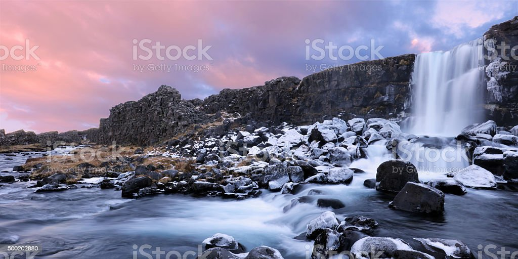 Oxararfoss Winter Waterfall Thingvellir National Park Iceland stock photo