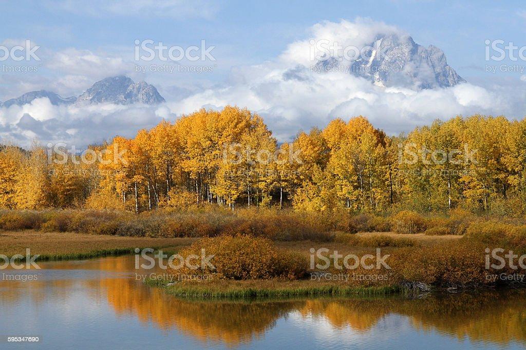 Oxbow Bend Grand Teton in Autumn stock photo