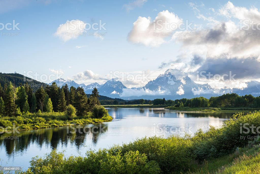 Oxbow Bend in the Grand Teton National Park stock photo