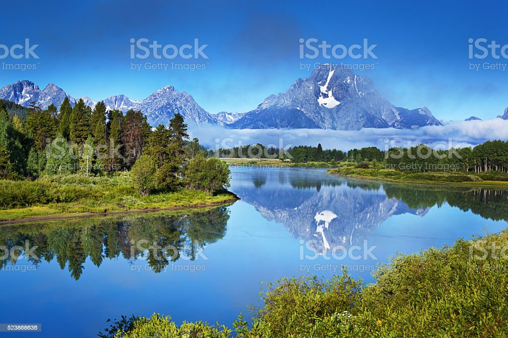 Oxbow Bend, Snake River, Grand Teton National Park in Wyoming stock photo