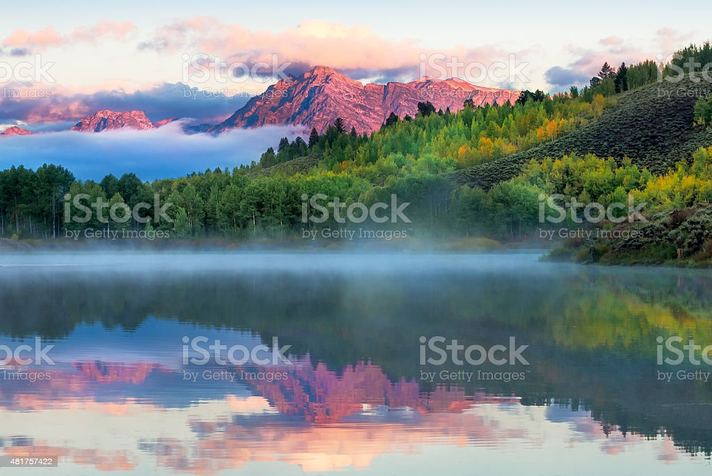 Oxbow Bend Sunrise stock photo