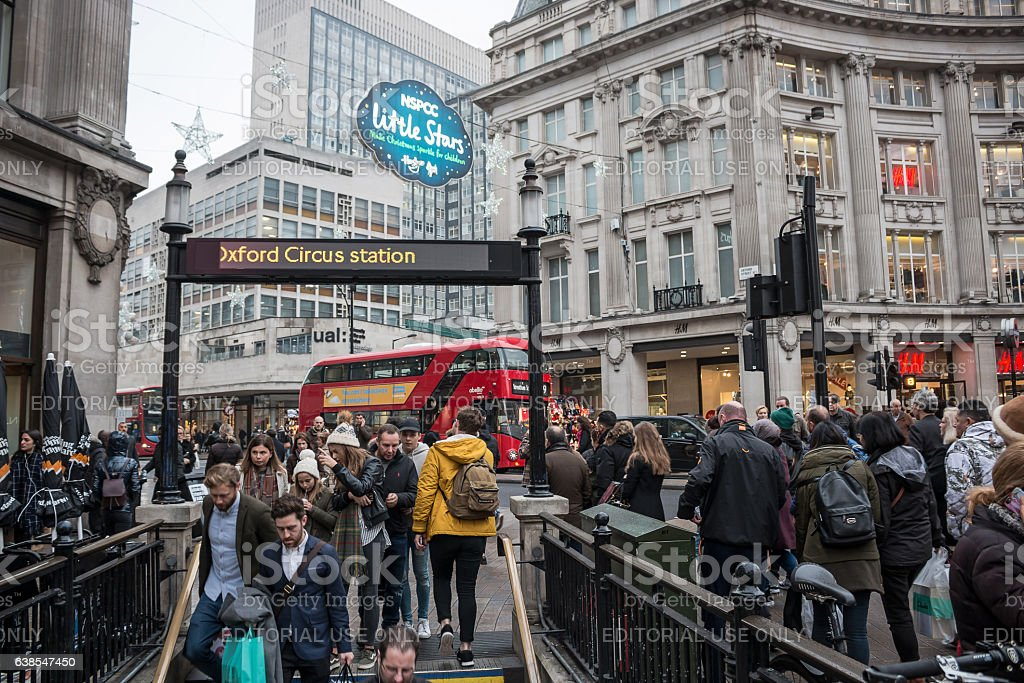 Oxford Circus in London, entrance/exit to the Underground stock photo