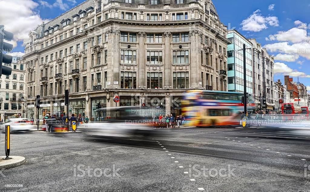Oxford Circus long exposure in the afternoon stock photo