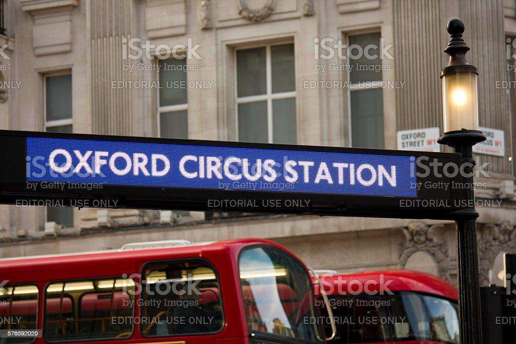 Oxford Circus Station underground board stock photo