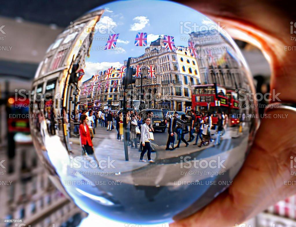 Oxford Circus through a Crystal Ball stock photo