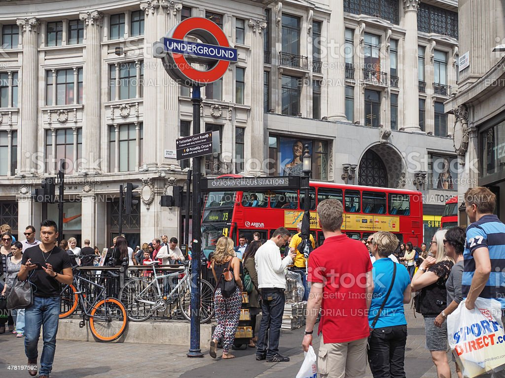 Oxford Circus tube station in London stock photo