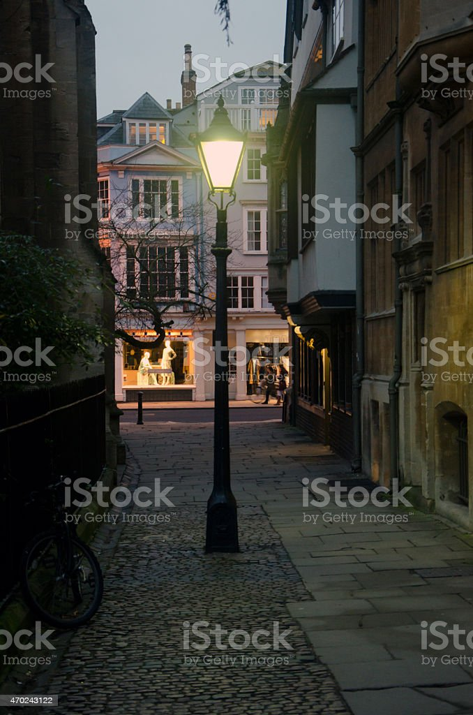Oxford City. Evening lantern stock photo