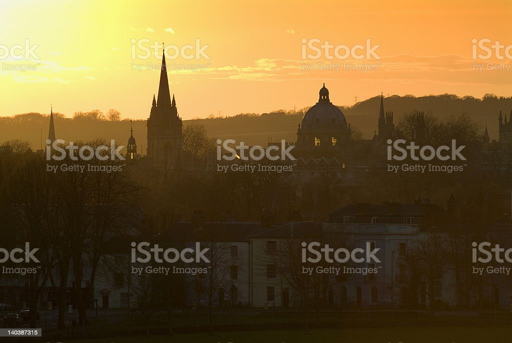 Oxford skyline at sunset stock photo